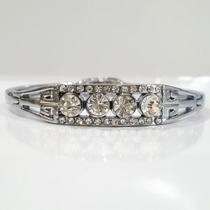 Silver & Crystal Bangle Bracelet